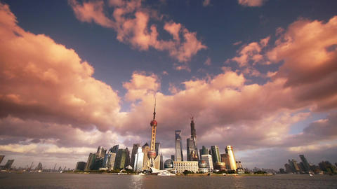 time lapse Shanghai skyline sunset & flying cloud,urban economic Centre Animation