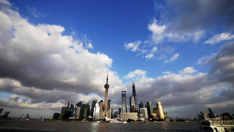 time lapse Shanghai skyline& flying cloud,urban... Stock Video Footage