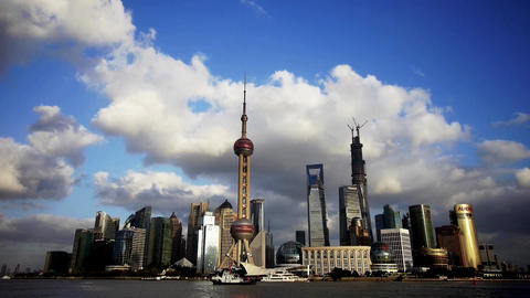 Shanghai skyline & flying cloud,world business Centre building Animation