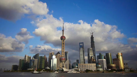 Shanghai skyline & flying cloud,world financial... Stock Video Footage