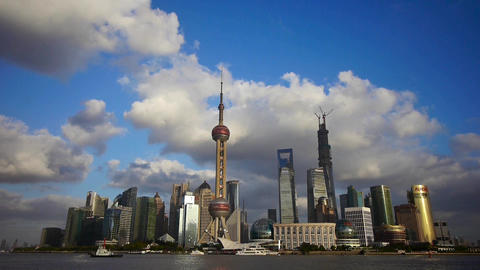 Shanghai skyline & flying cloud,world financial Centre building & pearl  Animation