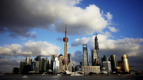 time lapse Shanghai skyline & flying cloud,world financial Centre building Animation