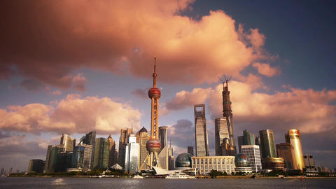 time lapse Shanghai skyline sunset glow,world economic Centre building Animation
