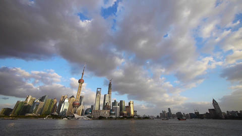 panoramic of Shanghai skyline & cloud,world urban economic Centre building Animation