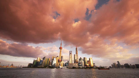 panoramic of Shanghai skyline at dusk,world urban... Stock Video Footage