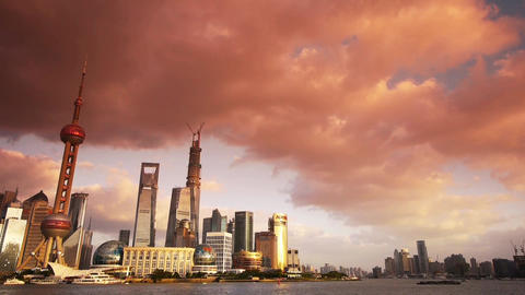panoramic of Shanghai sunset skyline,world urban business... Stock Video Footage