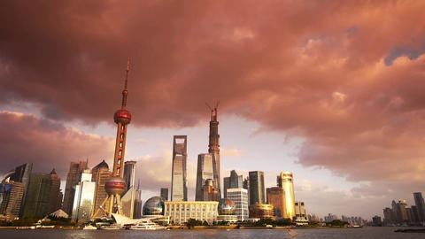 panoramic of Shanghai sunset skyline,world urban business Centre building Animation