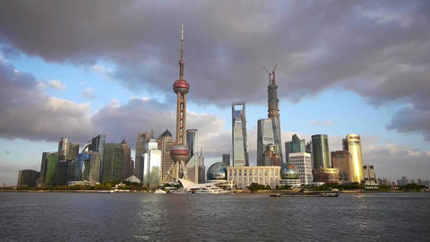 panoramic of Shanghai skyline & cloud,world urban financial Centre building Animation