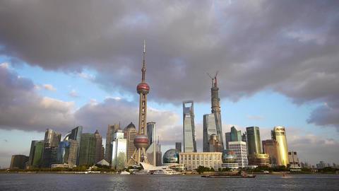 panoramic of Shanghai skyline & cloud,world urban... Stock Video Footage