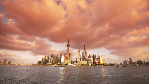 panoramic of Shanghai skyline at sunset,world urban... Stock Video Footage