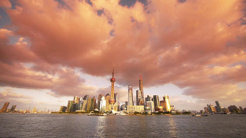 panoramic of Shanghai skyline at sunset,world urban financial Centre building Animation