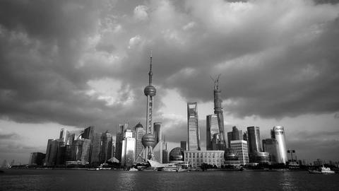 Black and white style of Shanghai skyline,world urban... Stock Video Footage