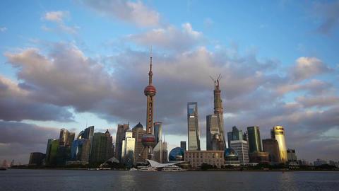 Shanghai skyline at dusk,world urban economic Centre... Stock Video Footage