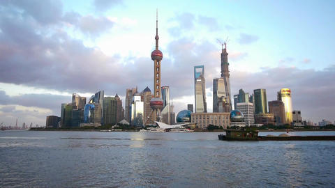 Shanghai skyline at dusk,world urban business Centre... Stock Video Footage