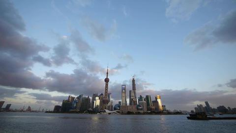 Shanghai skyline & vast sky at dusk,world urban economic Centre building Animation