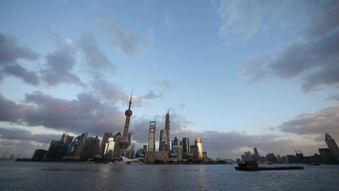 Shanghai skyline & vast sky at dusk,world urban... Stock Video Footage
