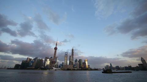 Shanghai skyline & vast sky at dusk,world urban... Stock Video Footage