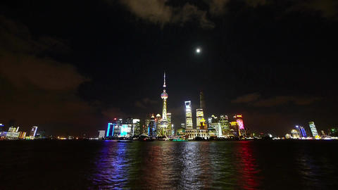 Shanghai at night,world financial hub neon light reflect huangpu river Animation