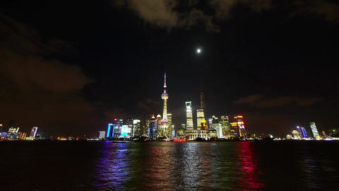 Shanghai at night,world financial hub neon light reflect... Stock Video Footage