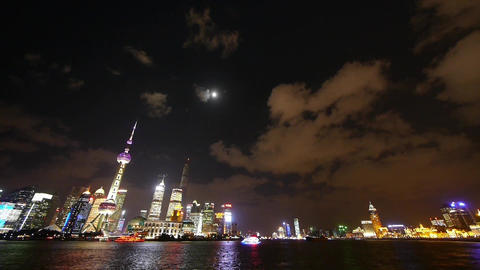 time lapse Shanghai at night,Brightly lit world financial... Stock Video Footage