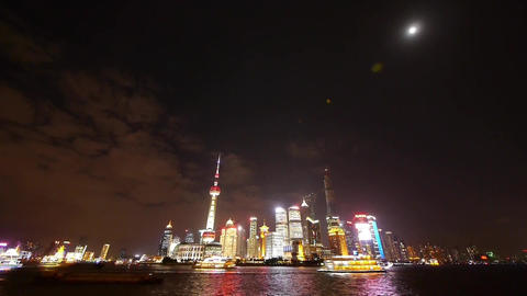 Shanghai bund at night,Brightly lit world financial... Stock Video Footage
