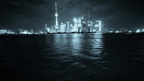 Shanghai bund at night,Brightly lit world financial center building Animation