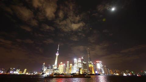 Shanghai bund at night,Brightly lit world economic center... Stock Video Footage