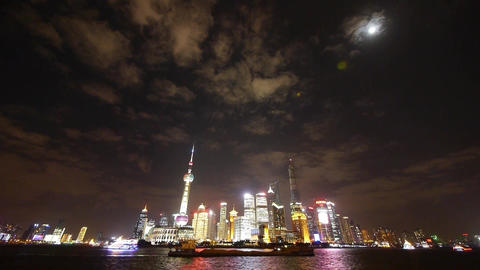 Shanghai bund at night,Brightly lit world economic center building Animation
