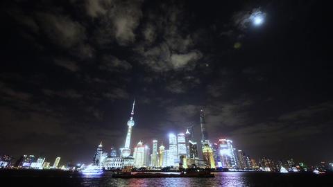 time lapse Shanghai bund at night,Brightly lit world... Stock Video Footage