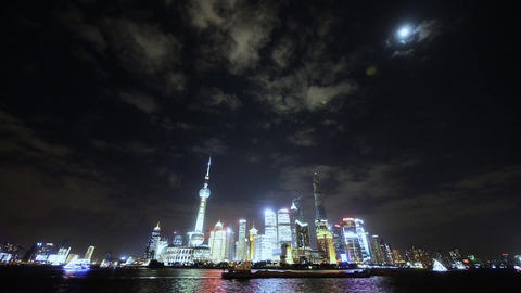 time lapse Shanghai bund at night,Brightly lit world economic center building Animation