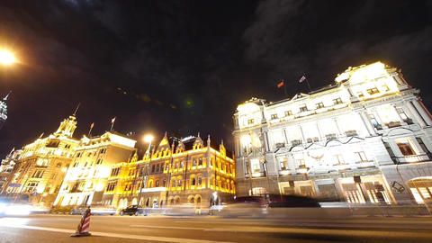 Shanghai bund traffic at night,old-fashioned business building Animation