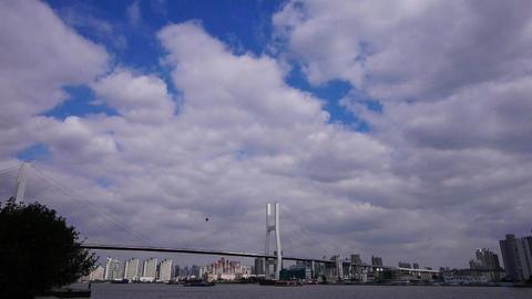 shipping on river,across the sea bridge,cloud Stock Video Footage