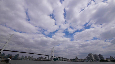 time lapse of flying cloud,shipping on river,across the... Stock Video Footage