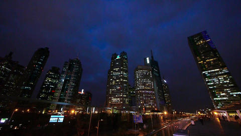 timelapse shanghai pudong traffic at night,pedestrian... Stock Video Footage