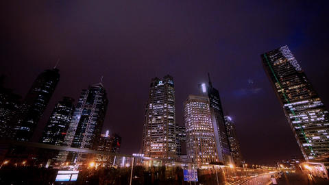 time lapse shanghai pudong at night,busy pedestrian... Stock Video Footage
