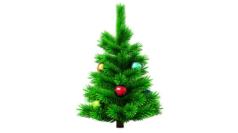 Christmas tree rotating on white background Animation