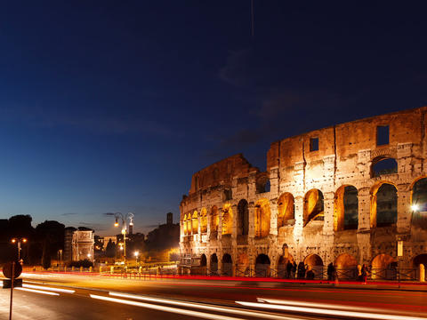 Colosseum at sunset. Rome, Italy. Time Lapse. 4x3 Footage