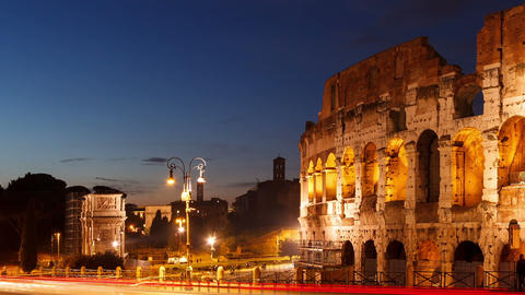 Colosseum at sunset. Rome, Italy. Time Lapse Footage