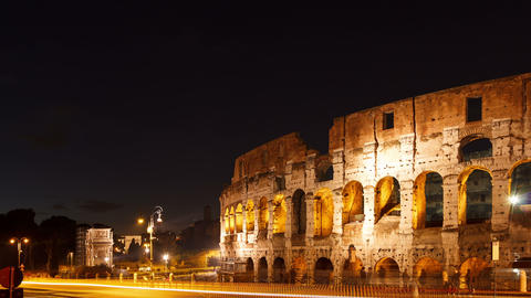 Colosseum at sunset. Rome, Italy. Time Lapse. 4K Stock Video Footage