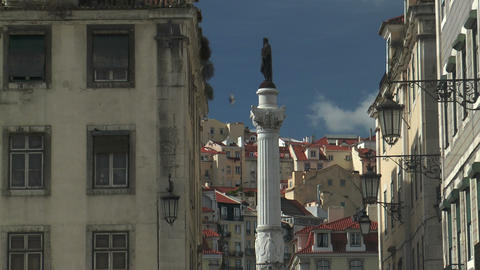column of pedro IV at praca rossio in Lisbon Portu Stock Video Footage