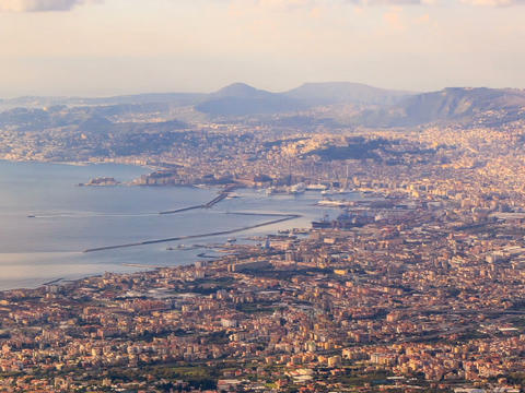 View of Naples with Vesuvius. Naples, Italy. Time  Footage