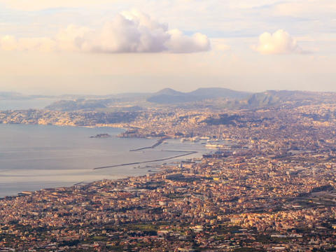 View of Naples with Vesuvius. Naples, Italy. Time Stock Video Footage