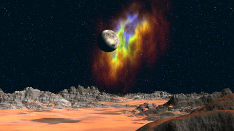 Planet and nebula in the background of the fantast Stock Video Footage