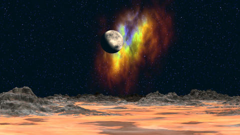 Planet And Nebula In The Background Of The Fantast stock footage