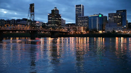 Downtown Portland and the Willamette River Stock Video Footage