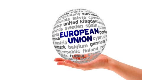 European Union Word Sphere Stock Video Footage