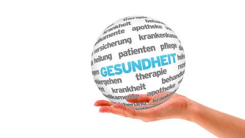 Health Word Sphere (In german) Stock Video Footage