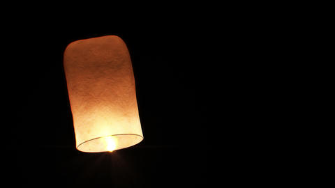 Beautiful Single Paper Lantern flying Slow. HD 108 Stock Video Footage