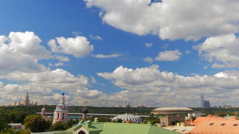above view Moscow cityscape and blue clouds time l Stock Video Footage