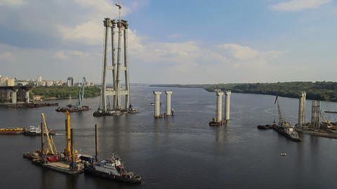 Bridge Construction In Zaporizhzhya Timelapse stock footage